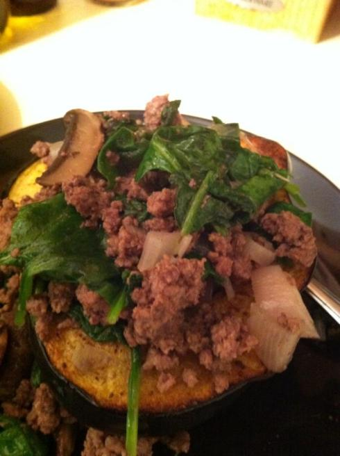 Shown here with ground bison, shallot, spinach, and mushroom saute....mmmm