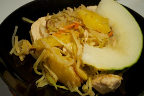 Shown here served with a slice of Santa Claus Melon :)