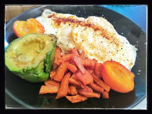 Tuesday - Eggs over Medium, 1/2 an Avocado, 1 Lightly Grilled Apricot (warmed), and Sweet Potato Hash