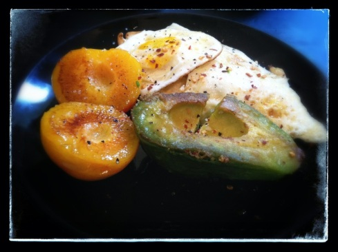 Wednesday - Eggs Over Medium, 1/2 and Avocado, and a Grilled Pluot