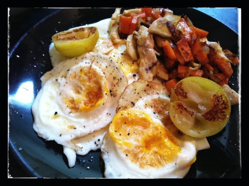 Friday - Eggs over Medium, Sweet Potato Hash 2.0 with added chicken thigh, Grilled Sugar Plum